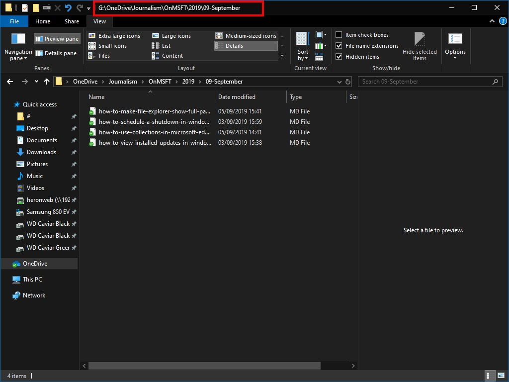 如何使Win10的文件资源管理器显示标题栏中的完整目录路径